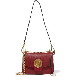 Mily small textured-leather and suede shoulder bag