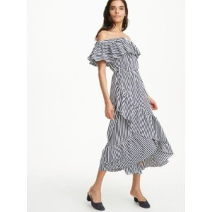 MDS Stripes Ruffle Knit Dress