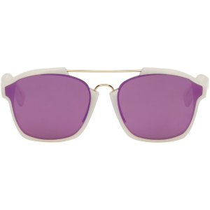 Dior: White Abstract Sunglasses
