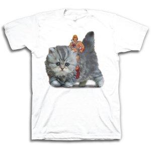 He-Man Riding Kitten White T-Shirt - XXL for Collectibles | GameStop
