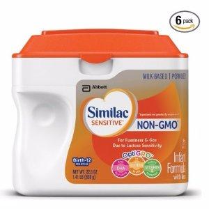 $59.64Similac Sensitive Non-GMO Infant Formula with Iron Powder, 22.5 Ounces (Pack of 6)