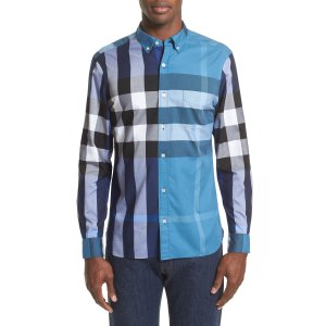 Burberry Sawick Trim Fit Plaid Sport Shirt