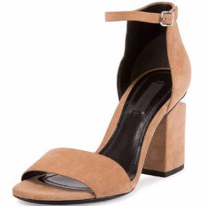 Alexander Wang Abby Suede Tilt-Heel City Sandal, Clay