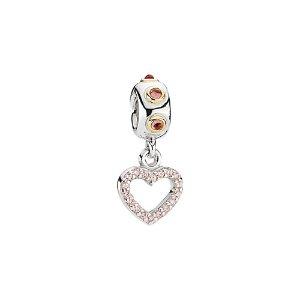 PANDORA Be My Valentine 14K & Silver Rhodolite & CZ Charm