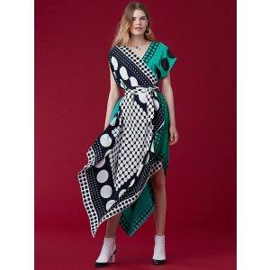 Asymmetric Sleeve Scarf Dress