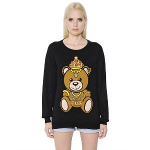 TEDDY BEAR INTARSIA COTTON SWEATER