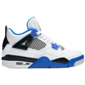 Jordan Retro 4 - Boys' Grade School - Basketball - Shoes - White/Game Royal/Black
