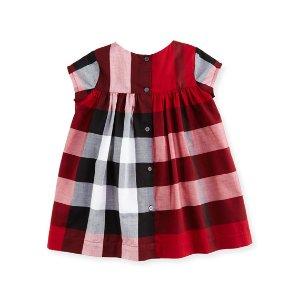 Burberry Ariadne Cap-Sleeve Check Shift Dress, Red, Size 6M-3