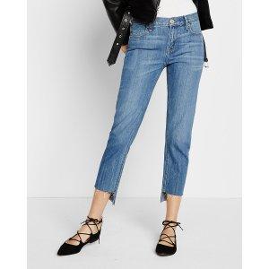 Mid Rise Raw Step Hem Girlfriend Jeans