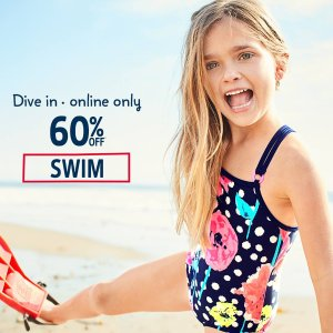 Ends Tonight! 60% Off + 20% Off $40+UPF 50+ Swim @ OshKosh BGosh