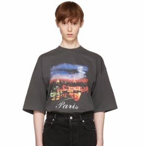 $355Balenciaga Grey 'Paris' T-Shirt