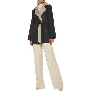 Two-tone wool and angora-blend felt coat