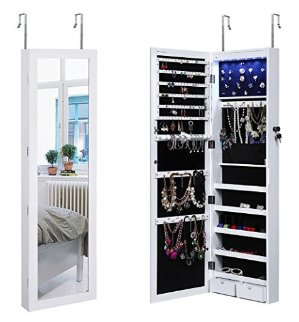 $94.39SONGMICS Lockable Jewelry Cabinet Wall Door Mounted Jewelry Armoire Organizer with Mirror LED Light