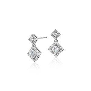 Diamond Princess Halo Drop Earrings in 14k White Gold (3/4 ct. tw.) | Blue Nile