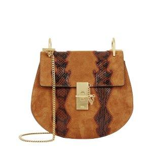 Chloé Small Drew Snakeskin Panel Shoulder Bag