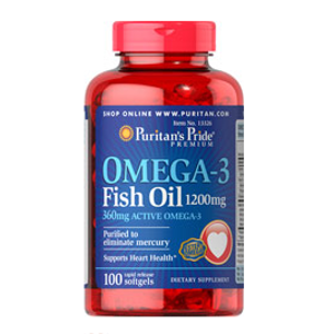 Omega-3 Fish Oil 1200 mg (360 mg Active Omega-3) 100 Softgels | Top Sellers Supplements | Puritan's Pride