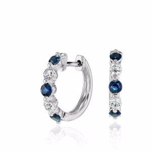 Petite Floating Sapphire and Diamond Huggie Hoop Earrings in 14k White Gold | Blue Nile