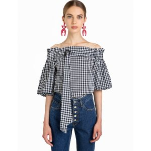 Gingham Belted OTS Top