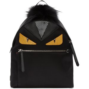 Fendi: Black Medium 'Bag Bugs' Backpack | SSENSE