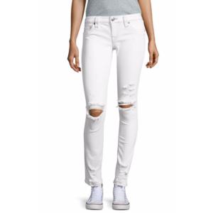 True Religion - Skinny-Fit Distressed White Denim Jeans - saksoff5th.com