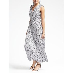 Floral Ruffle-Vee Maxi Dress | Banana Republic