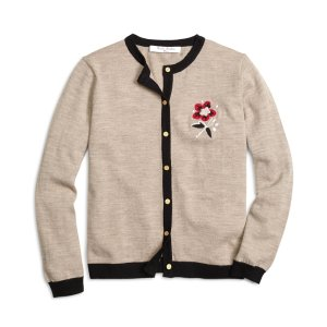 Girls' Merino Wool Flower Cardigan | Brooks Brothers