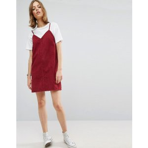 ASOS | ASOS Cord Slip Dress in Washed Raspberry With Raw Hem