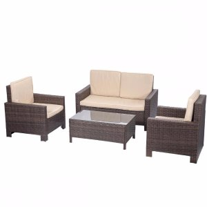 $249.994pc PE Rattan Wicker Sofa Set Cushion Outdoor Patio Sofa Couch Furniture