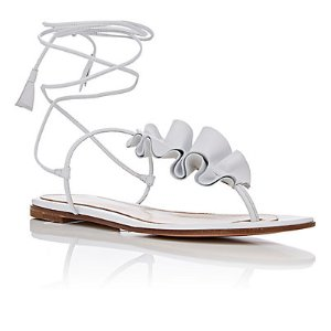 Gianvito Rossi Ruffled Leather Thong Sandals | Barneys New York