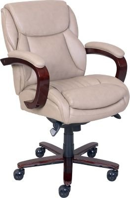 lazboy arden leather managers office chair fixed arms taupe - Lazy Boy Office Chairs