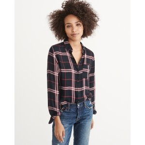 Womens Drapey Plaid Shirt | Womens Sale Up to 50% Off | Abercrombie.com