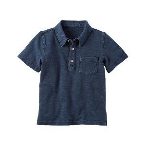 Garment-Dyed Slub Jersey Polo