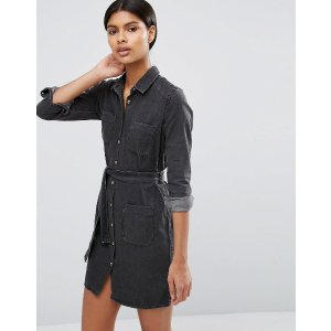 ASOS | ASOS Denim Belted Shirt Dress in Washed Black