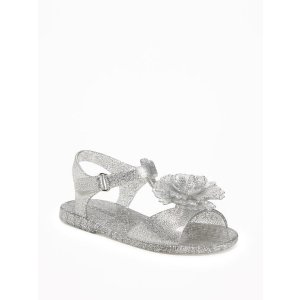 Flower-Accent T-Strap Jelly Sandals for Toddler