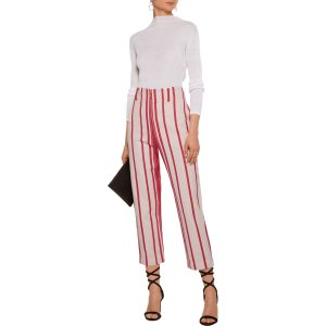 Remy striped cotton-twill tapered pants