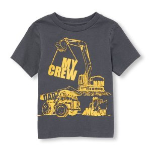 Toddler Boys Short Sleeve 'My Crew Mom Dad Me' Truck Graphic Tee | The Children's Place