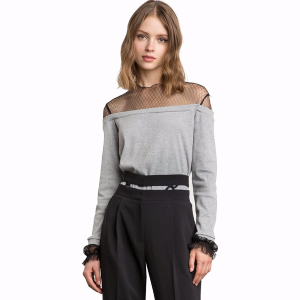 Tess Fishnet Off The Shoulder Sweatshirt