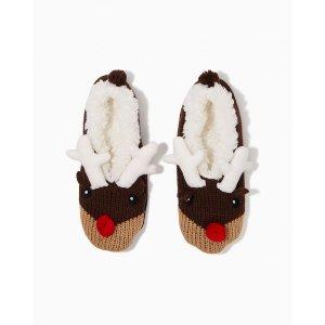 Fuzzy Reindeer Slippers