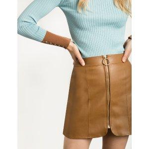 Brown Leather Ring Circle Zip Skirt