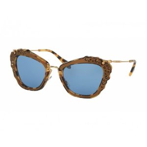 Miu Miu Noir Women's Sunglasses Gold Marble Frame Blue Lenses | Focus Camera