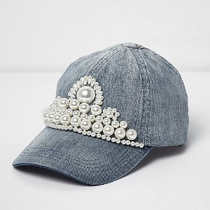 Blue faux pearl embellished denim cap - hats - accessories - women