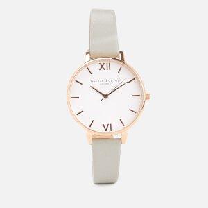 Olivia Burton Women's White Dial Watch - Grey/Rose Gold
