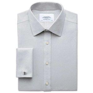 Classic fit non-iron herringbone grey shirt | Charles Tyrwhitt