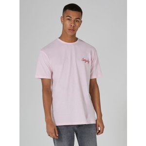 Pink 'Everyday' Embroidery T-Shirt - New Arrivals - New In - TOPMAN USA