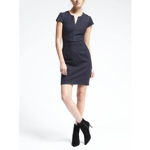 Seamed Denim Dress