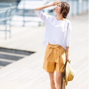 $14.90WOMEN HIGH RISE BELTED SHORTS @ Uniqlo