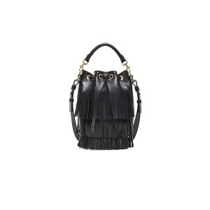 Saint Laurent Small Fringe Bucket Bag in Black