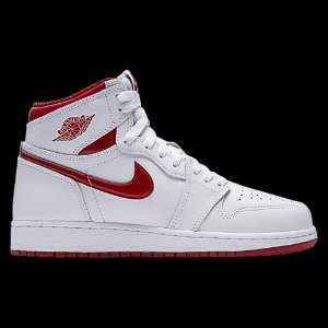 Jordan Retro 1 High OG - Boys' Grade School - Basketball - Shoes - White/Varsity Red