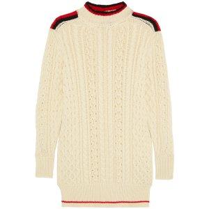 Stripe-trimmed wool-blend sweater