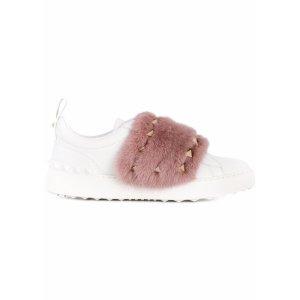 Open Mink Fur-trimmed Leather Sneakers